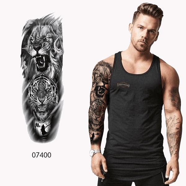 Ajutine-tattoo-lõvi-ja-tiigriga