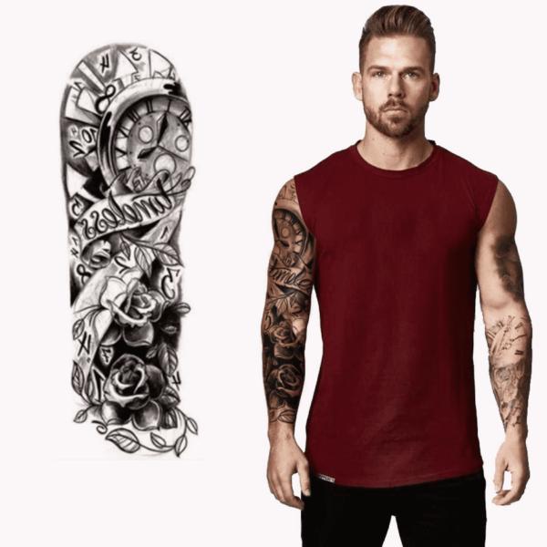 Ajutine-tattoo-kell-ja-roosid-mustvalge